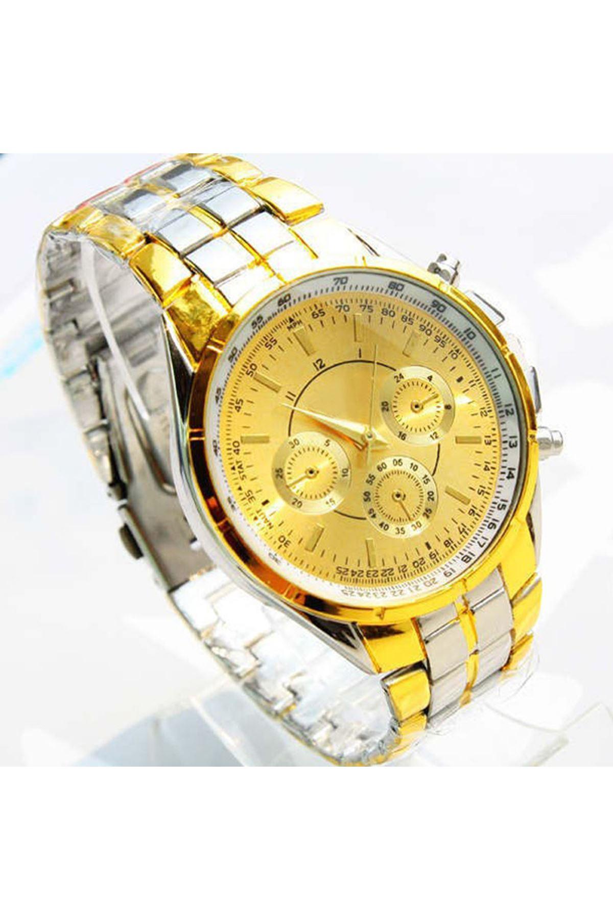 9065  Altın Gümüş Unisex Saat