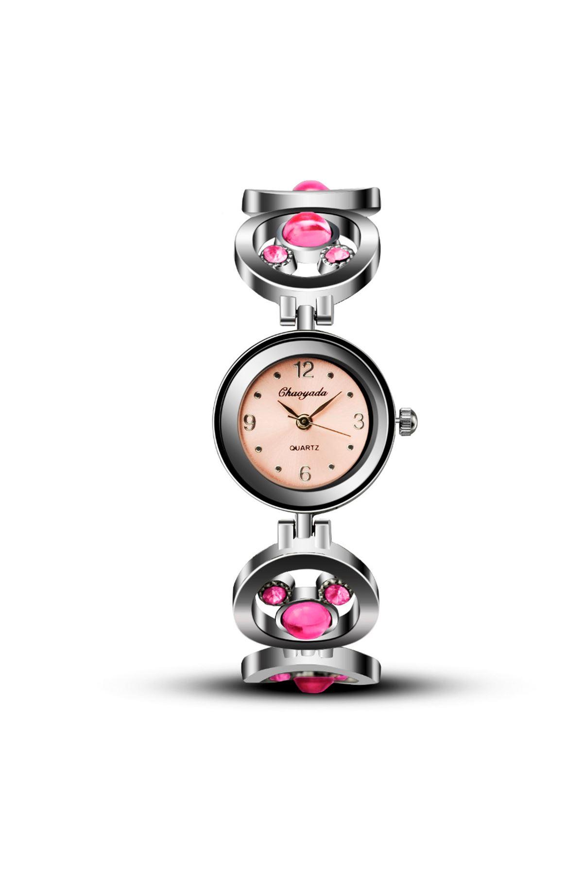 9007 Gümüş Pembe Kadın Saat