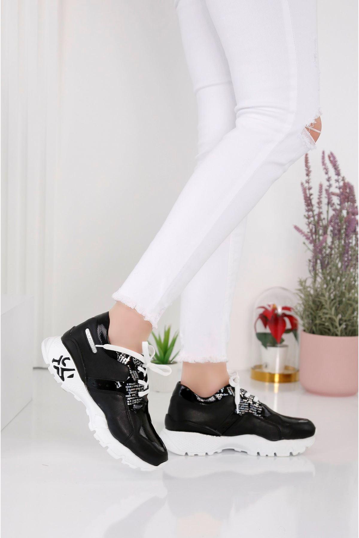 Deny 3808 - Kadın Siyah  Spor Ayakkabı