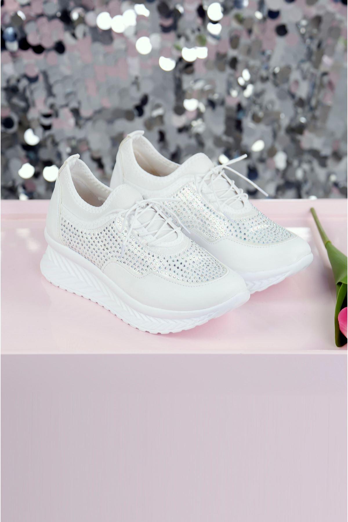 AZAZEL Beyaz Taş Kaplama Ayakkabı