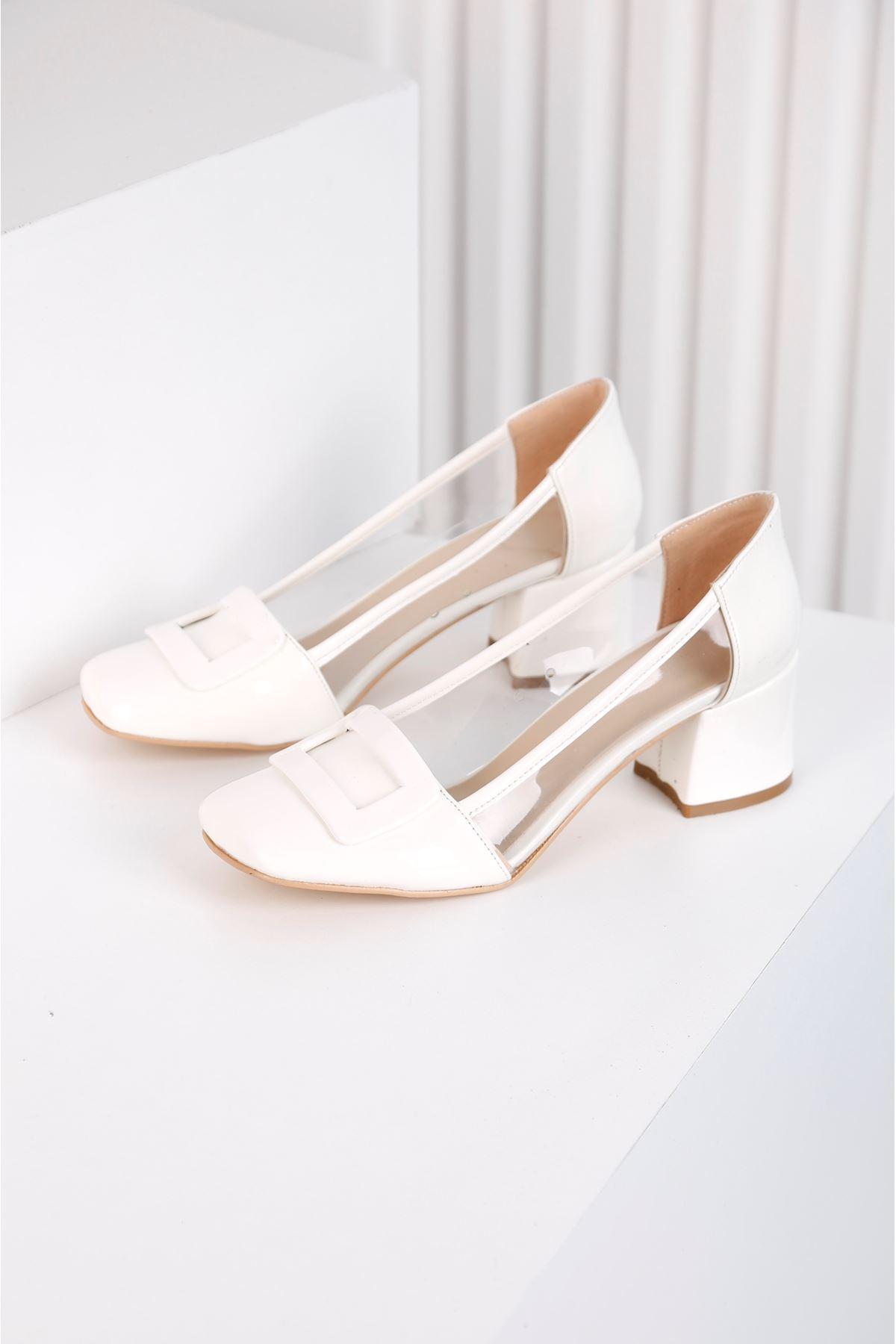 Barbie Topuklu Beyaz Şefaf Ayakkabı