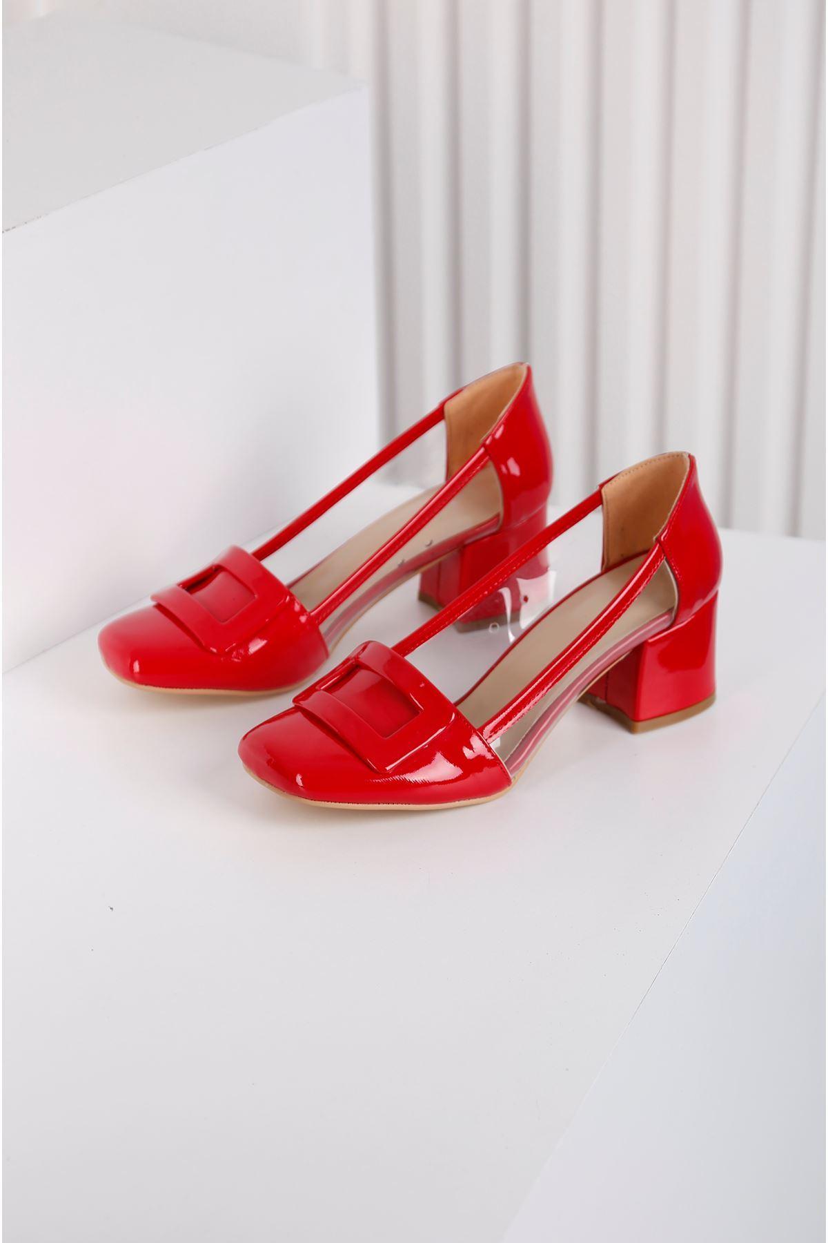 Barbie Topuklu Kırmızı Şefaf Ayakkabı