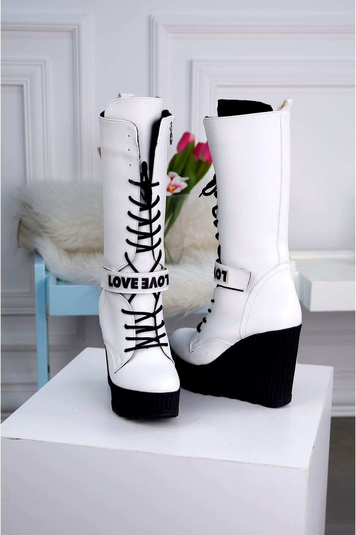 MODDA-B Beyaz Platform Çizme