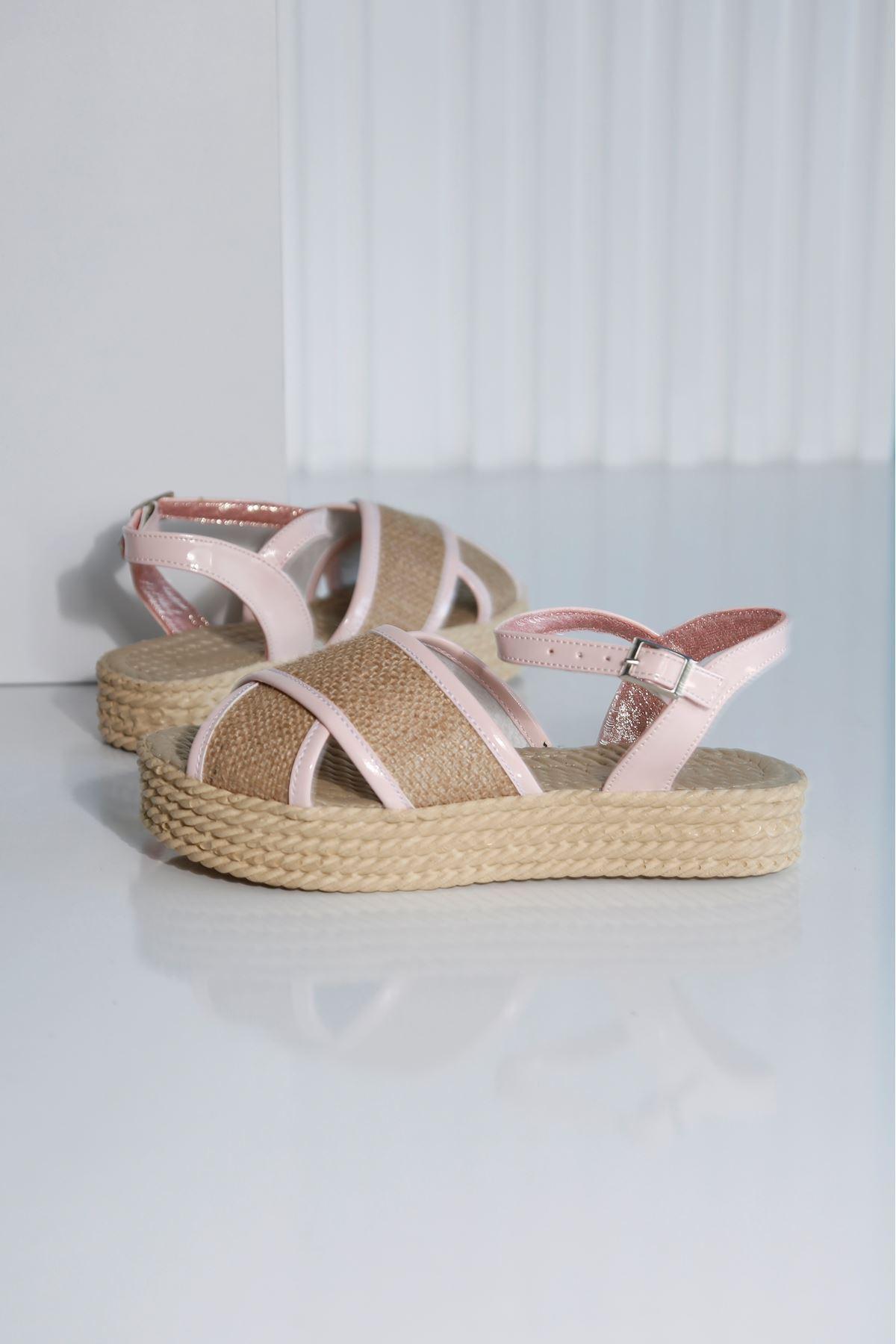 Croce-B Kadın Pembe Hasır Sandalet