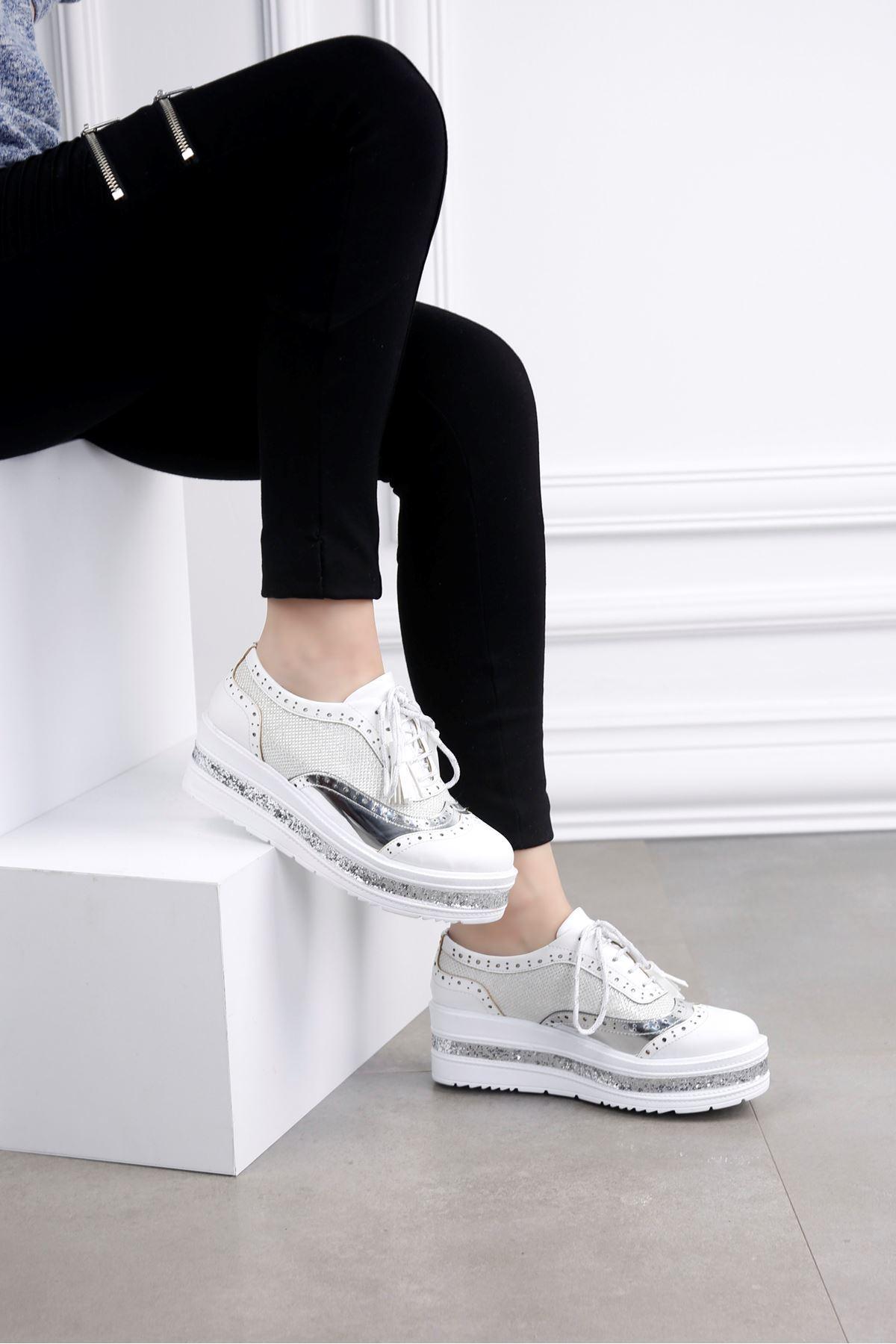 SHOT Beyaz Yüksek Taban Ayakkabı