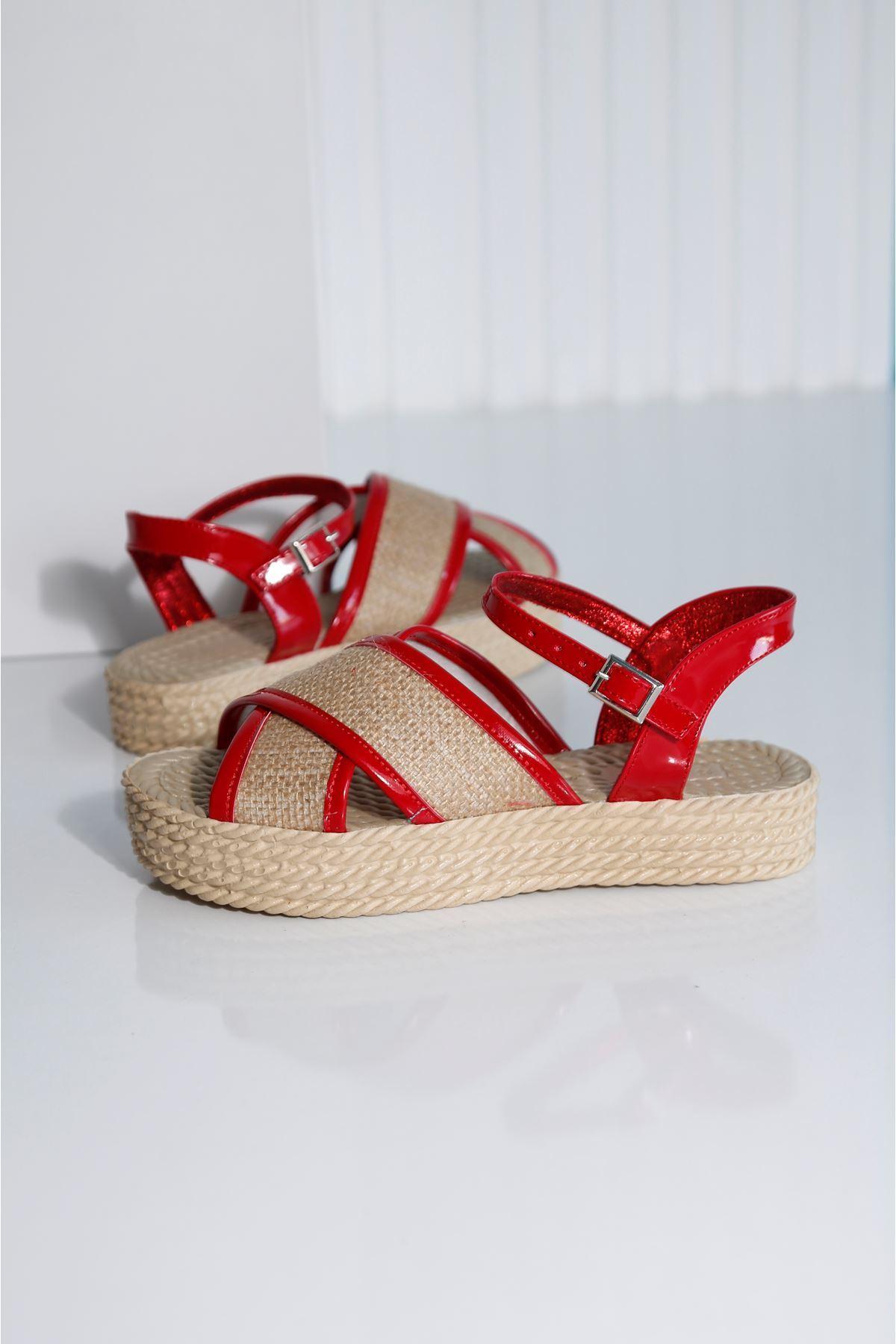 Croce-B Kırmızı Hasır Sandalet