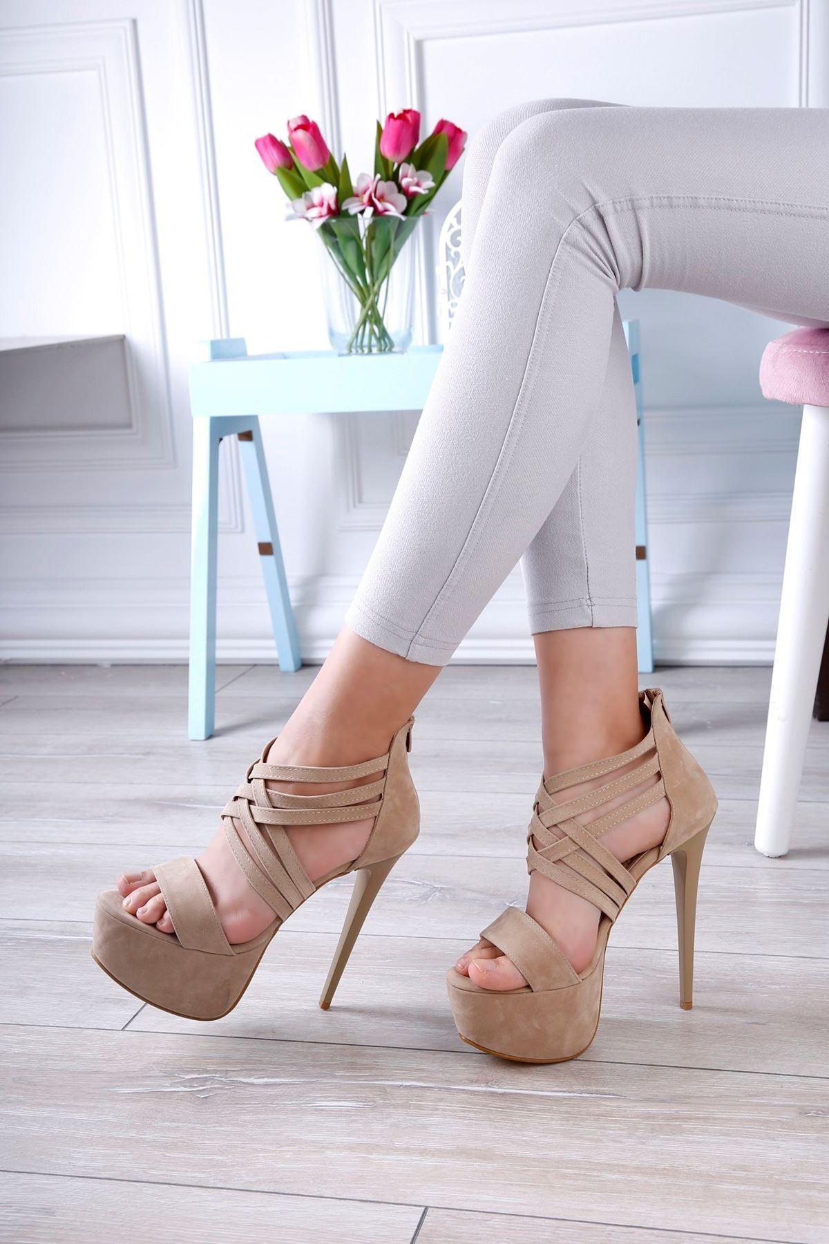 ÇESİL Vizon Platform Topuklu Süet Ayakkabı