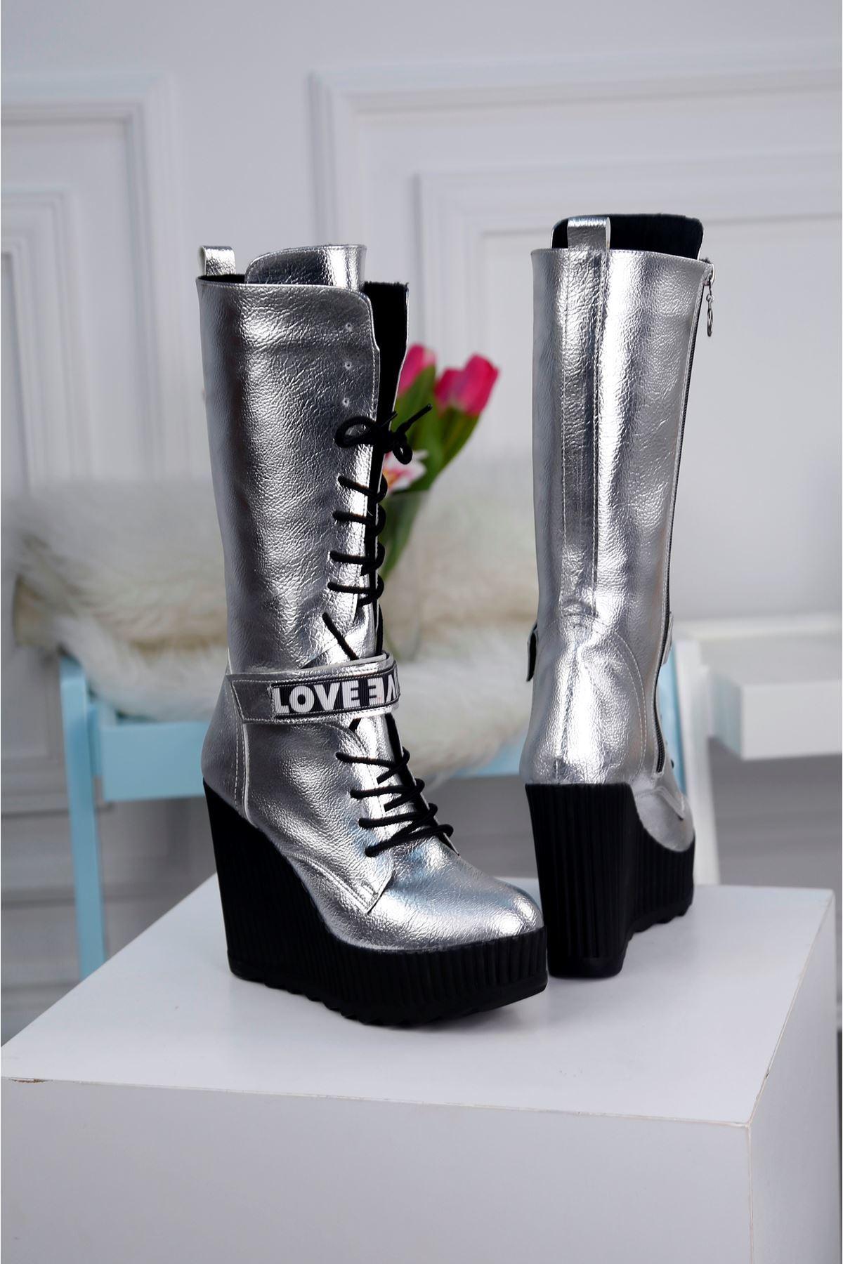 MODDA-B Gümüş Platform Çizme