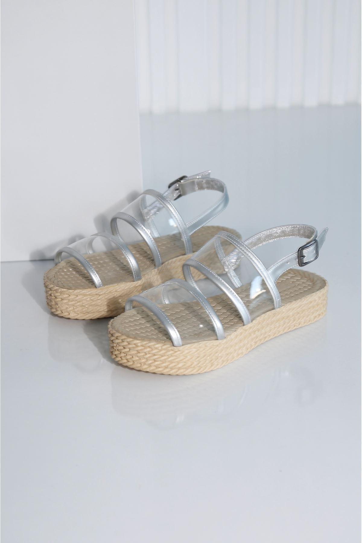 Croce-A Kadın Gümüş Şeffaf Sandalet