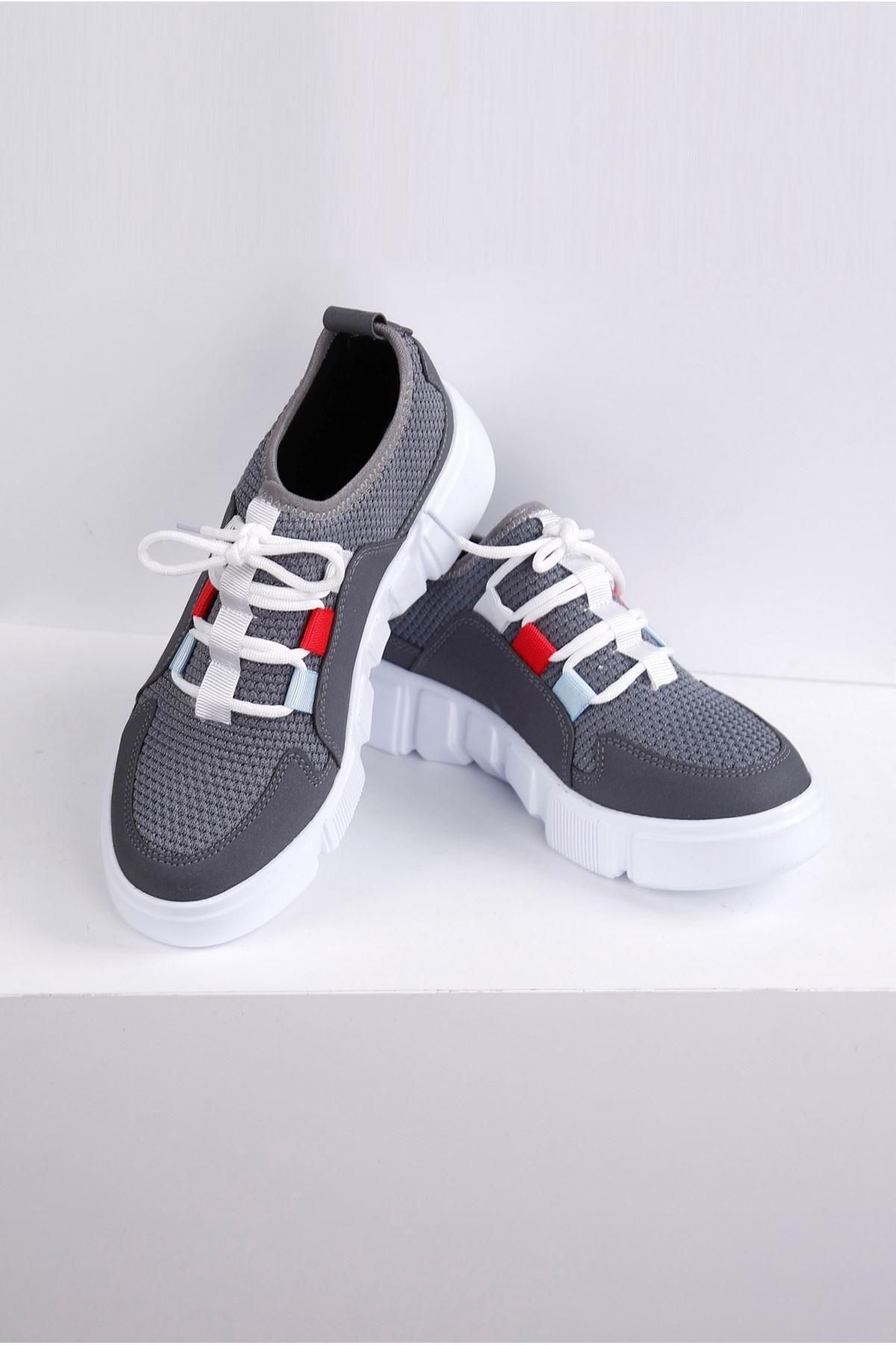 ONKO Gri Tekstil Kumaş Spor Ayakkabı