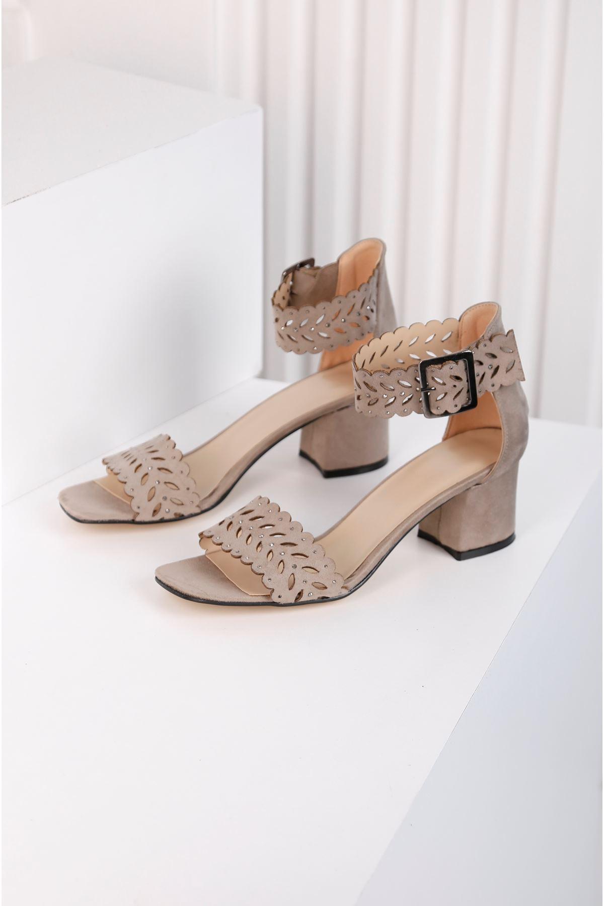 Ribbon Vizon Taş Kaplama Lazer Kesim Ayakkabı