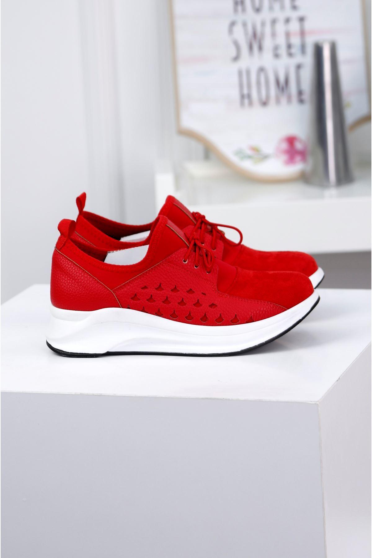 NOBLE Kırmızı Günlük Süet Ayakkabı
