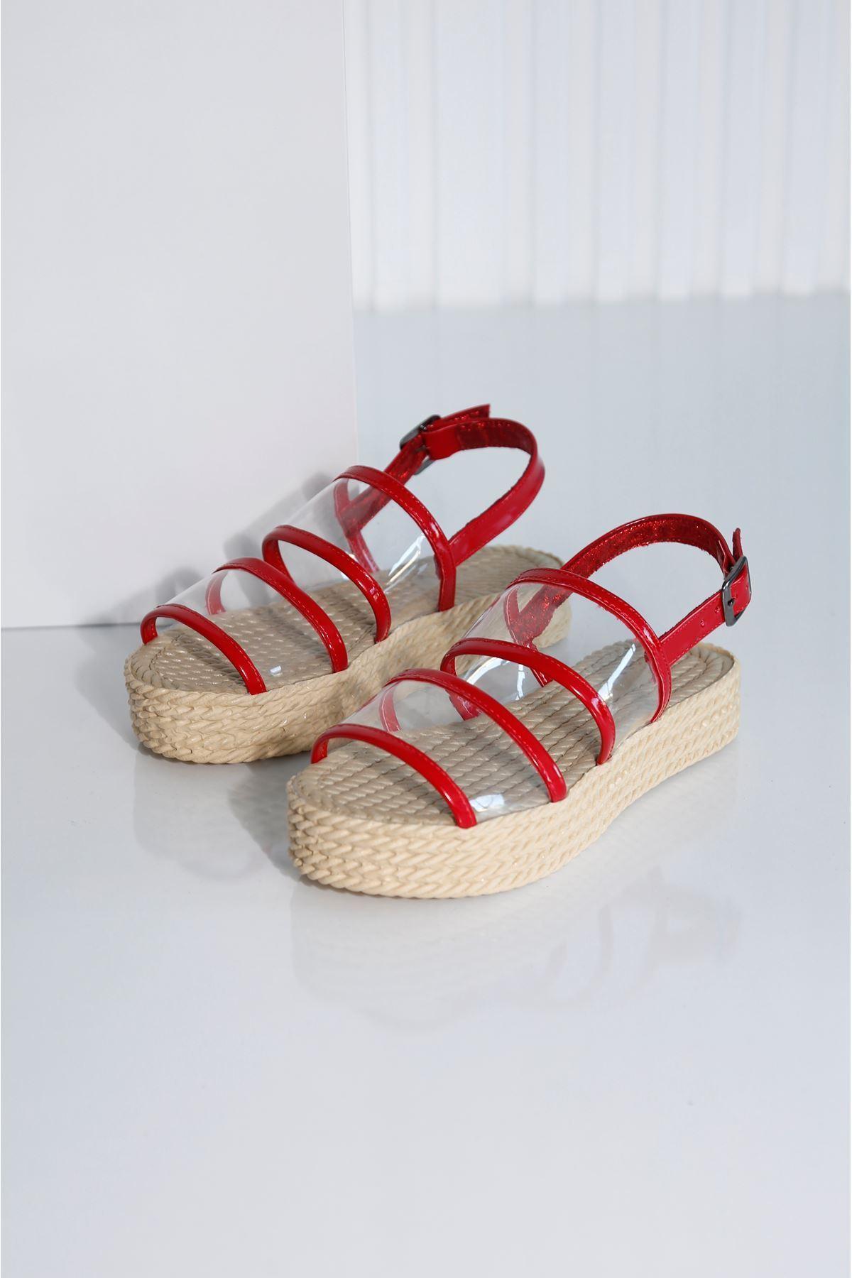 Croce-A Kadın Kırmızı Şeffaf Sandalet