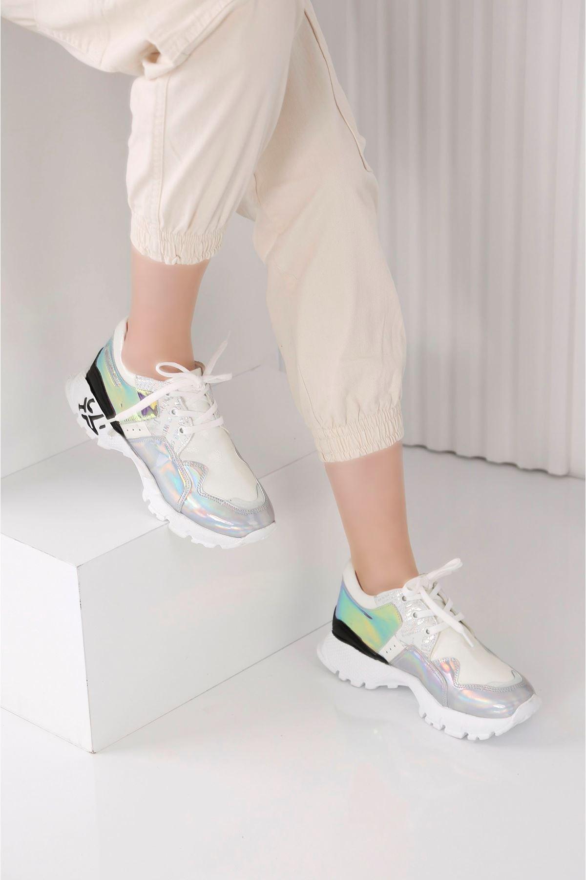 Deny  Beyaz Hologram  Spor Ayakkabı