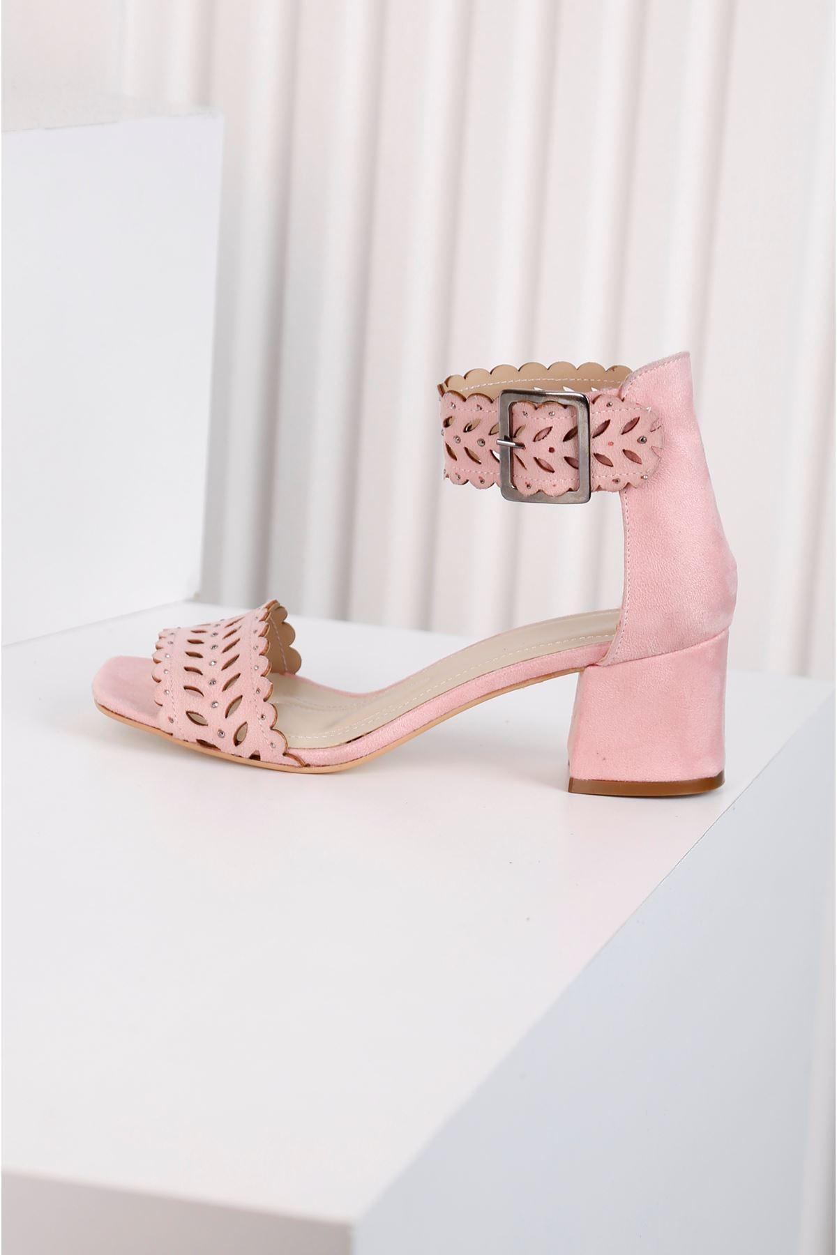 Ribbon Pembe Taş Kaplama Lazer Kesim Ayakkabı