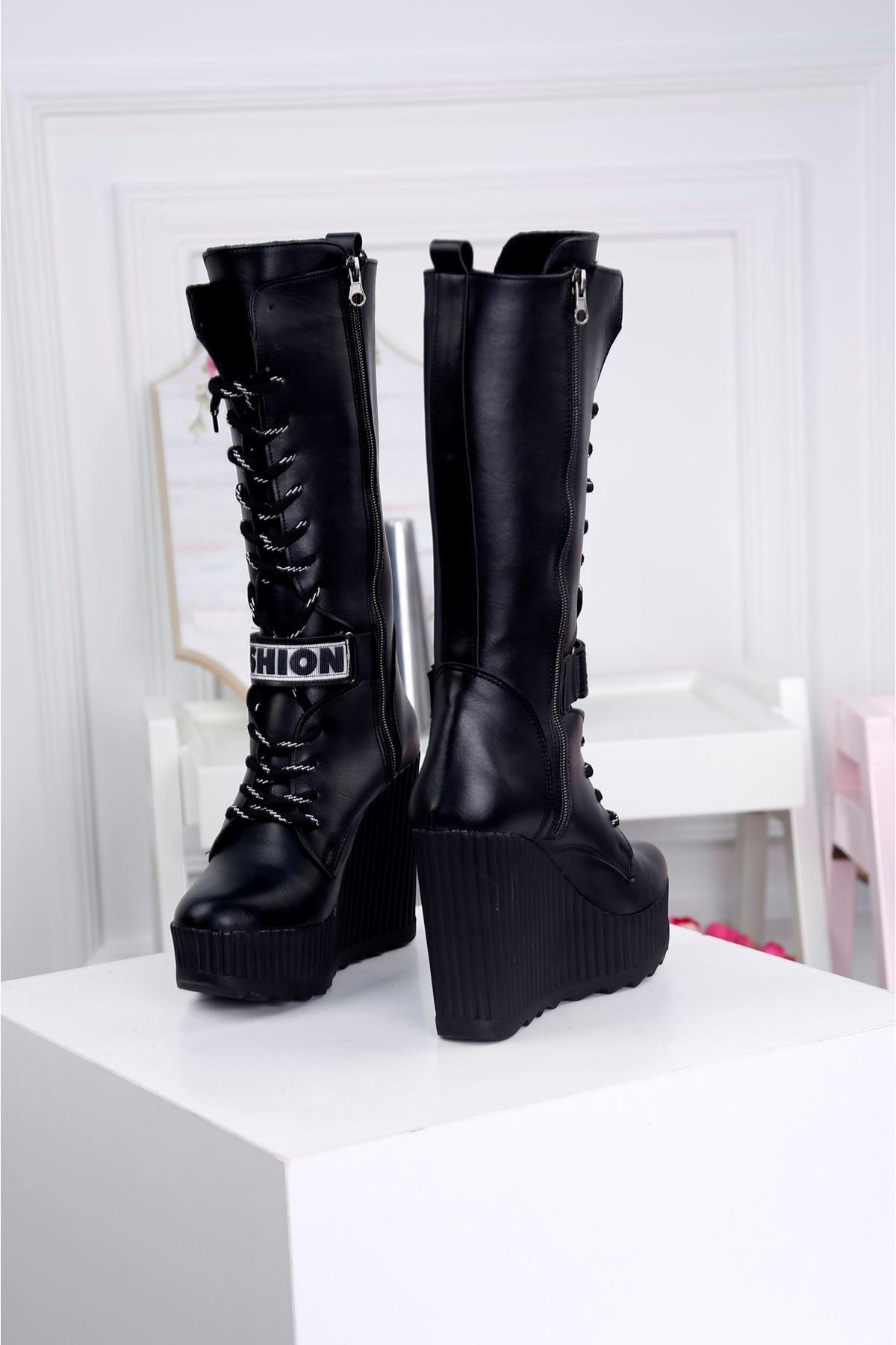 MODDA-B Siyah Platform Çizme