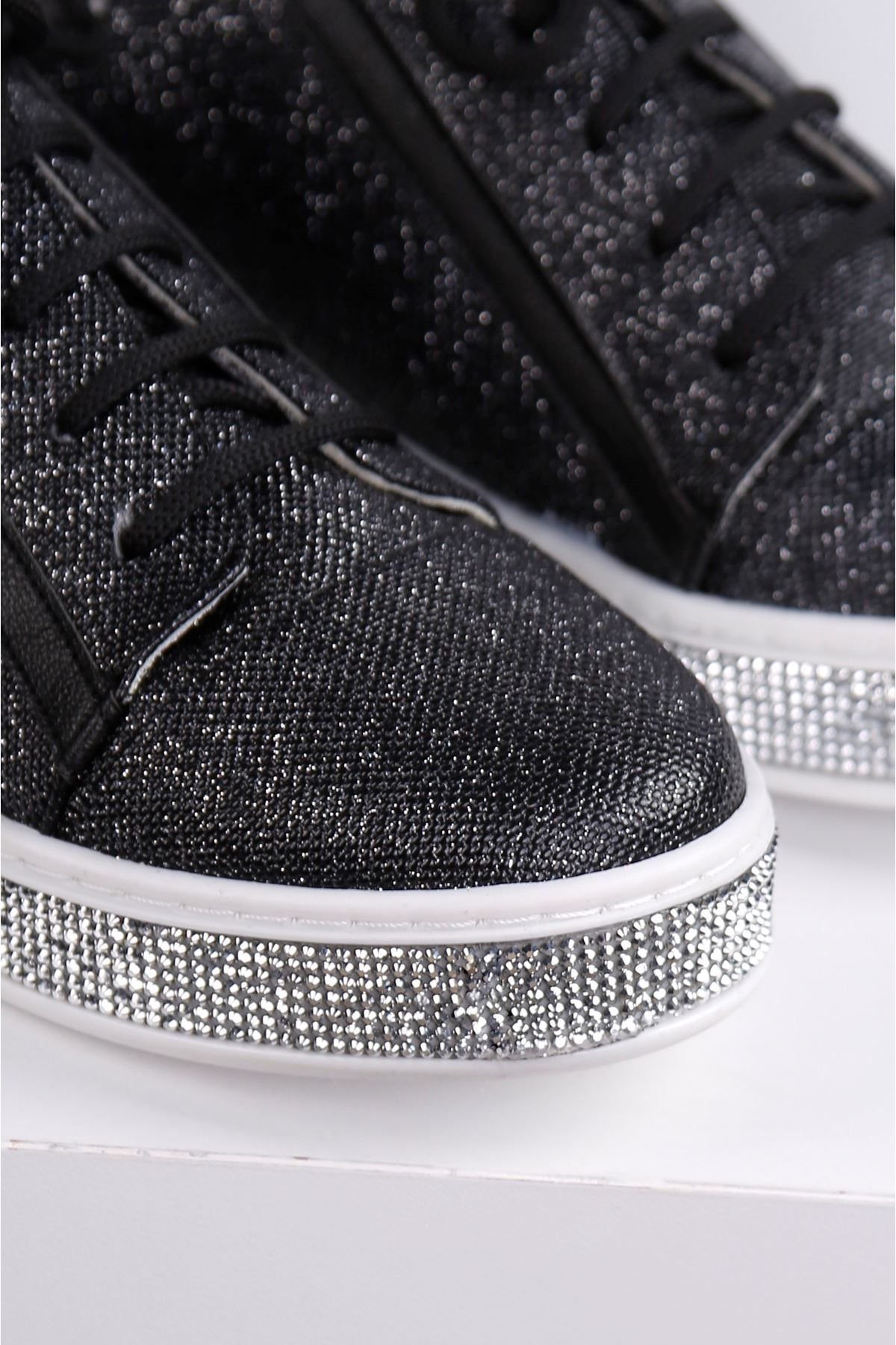 ESİLL Siyah Taban Taş Kaplama Ayakkabı