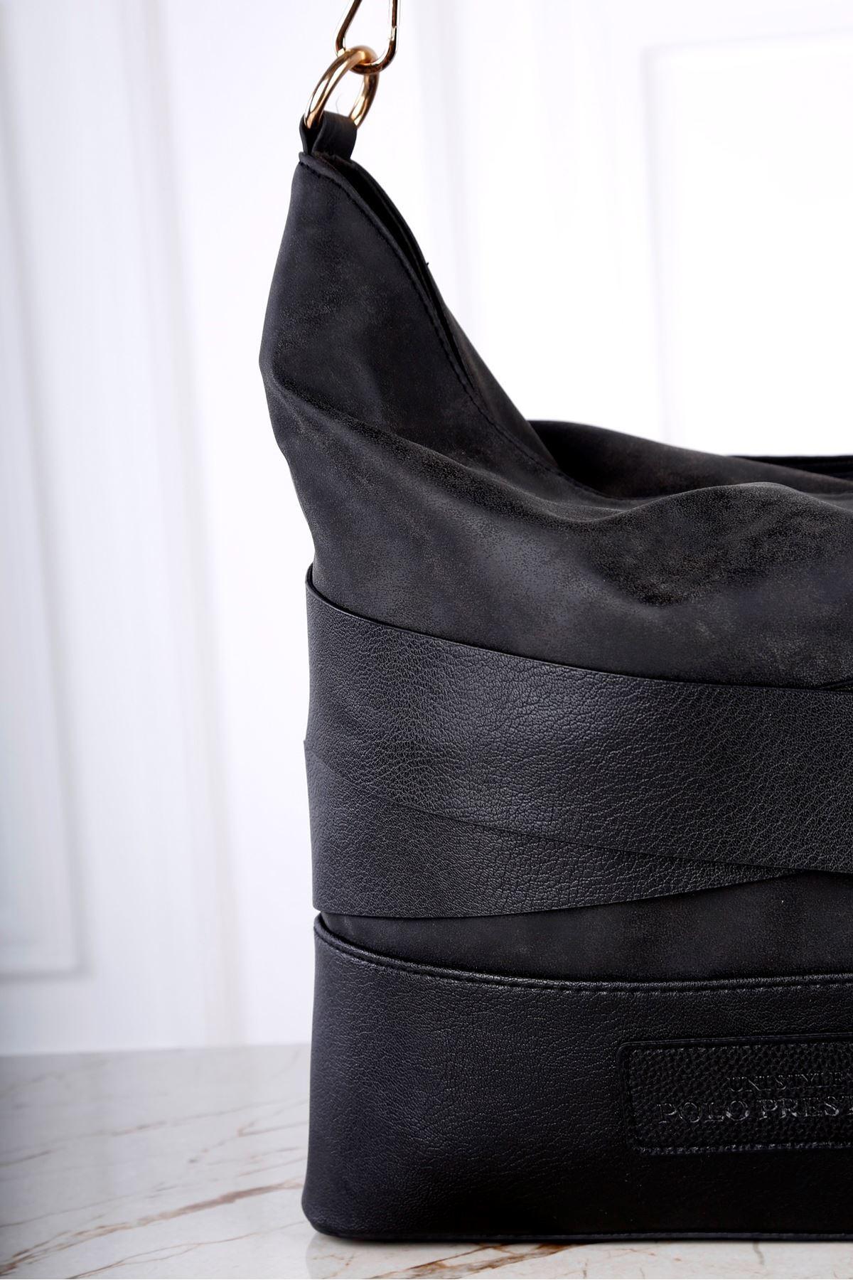 Locca Kadın Siyah Süet Omuz Çanta