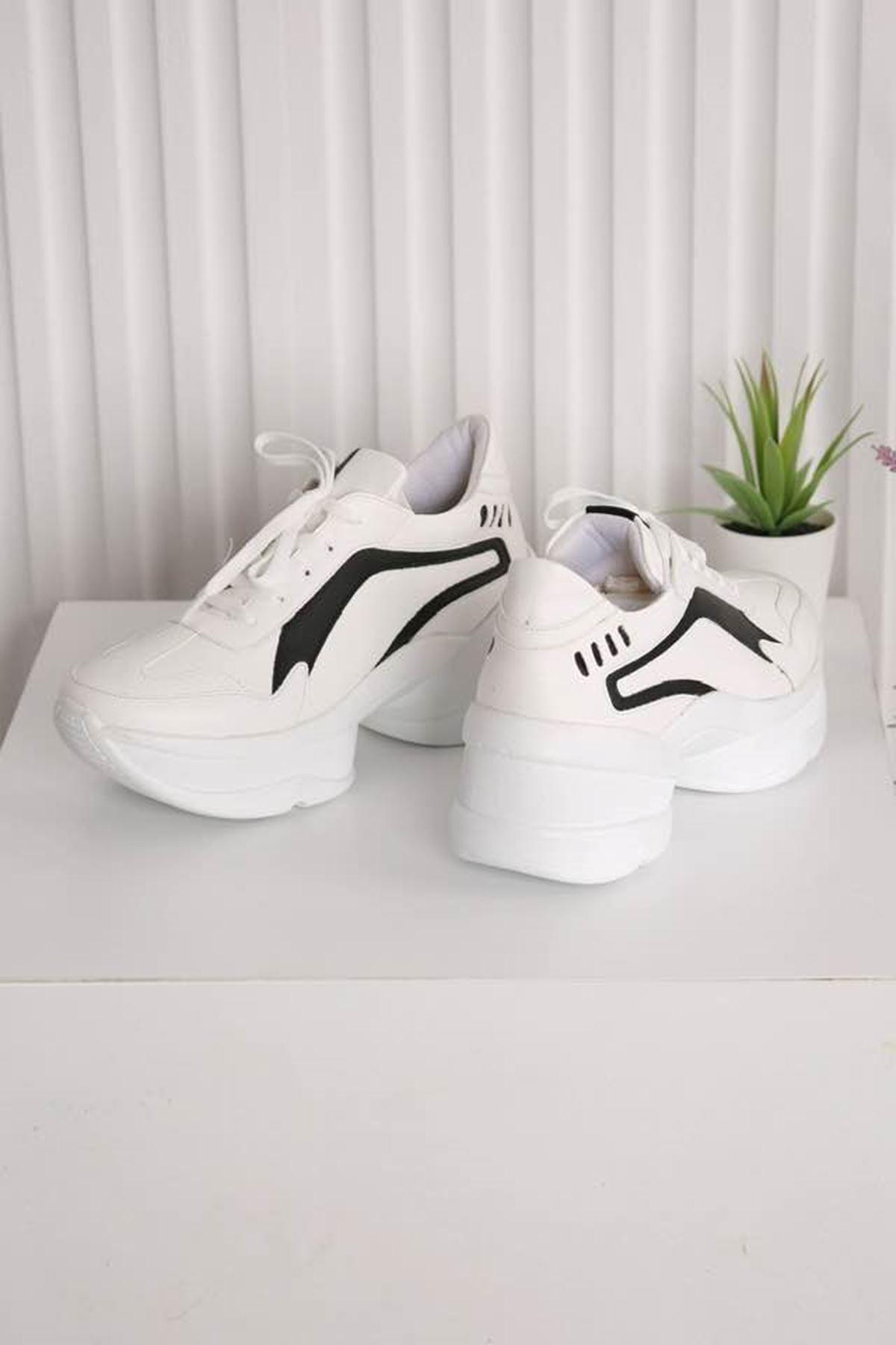 Spring  Beyaz Siyah  Spor Ayakkabı