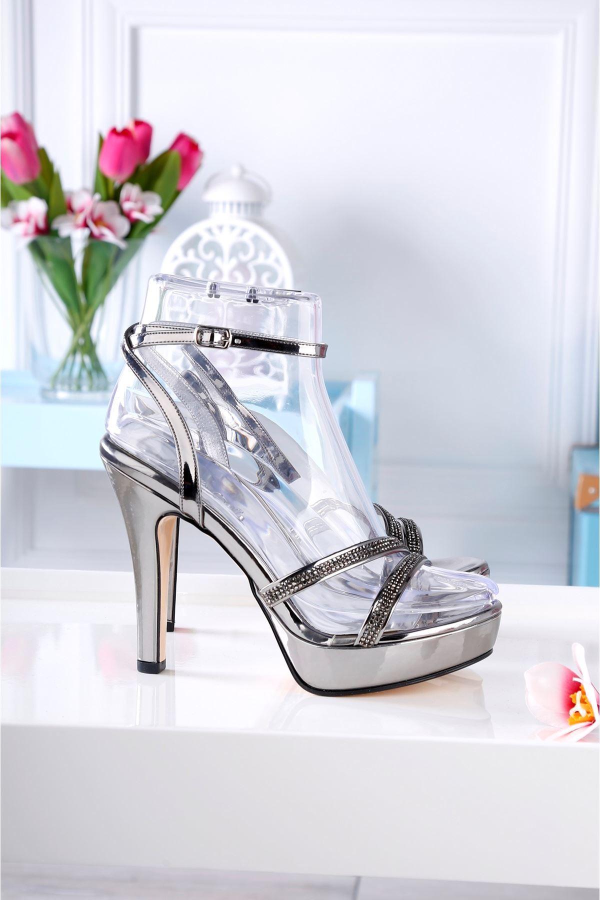 ZALY Gümüş Taş Kaplama Topuklu Ayakkabı