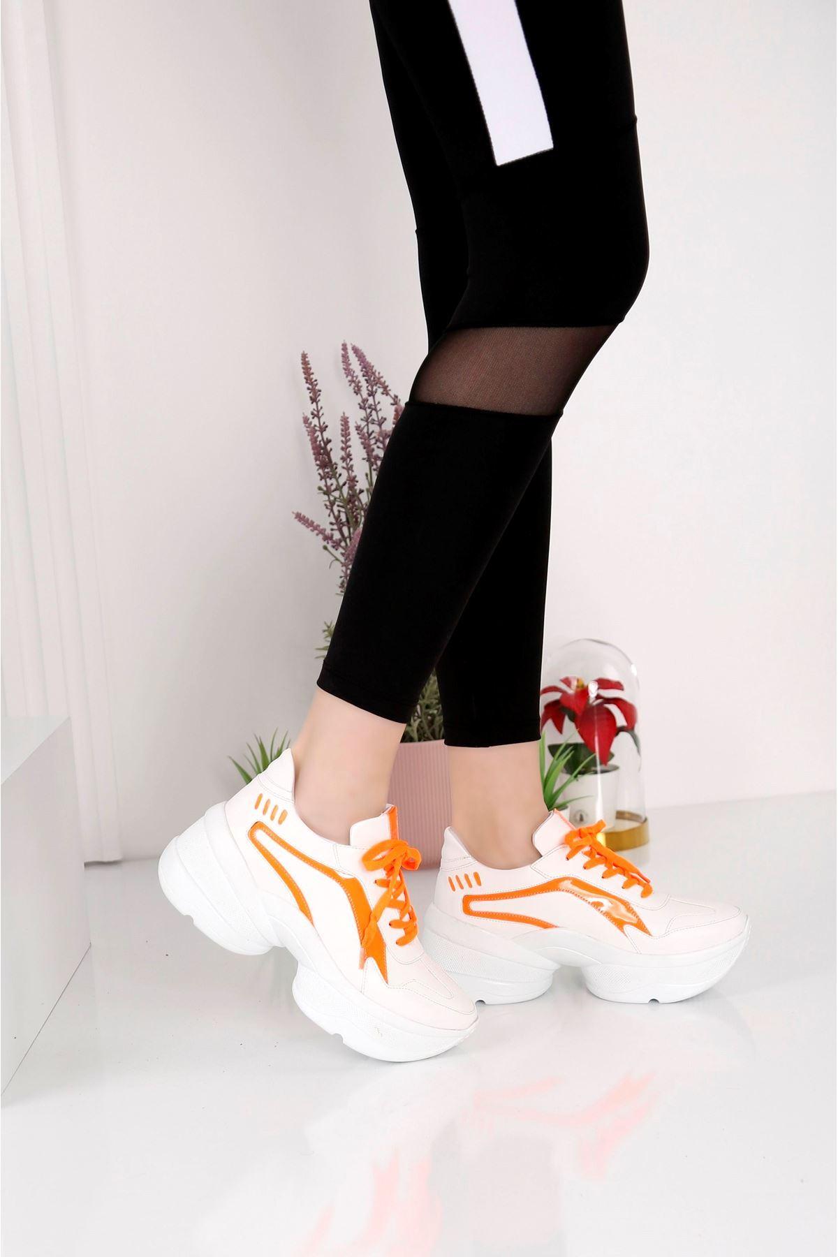 Spring Beyaz Turuncu Spor Ayakkabı