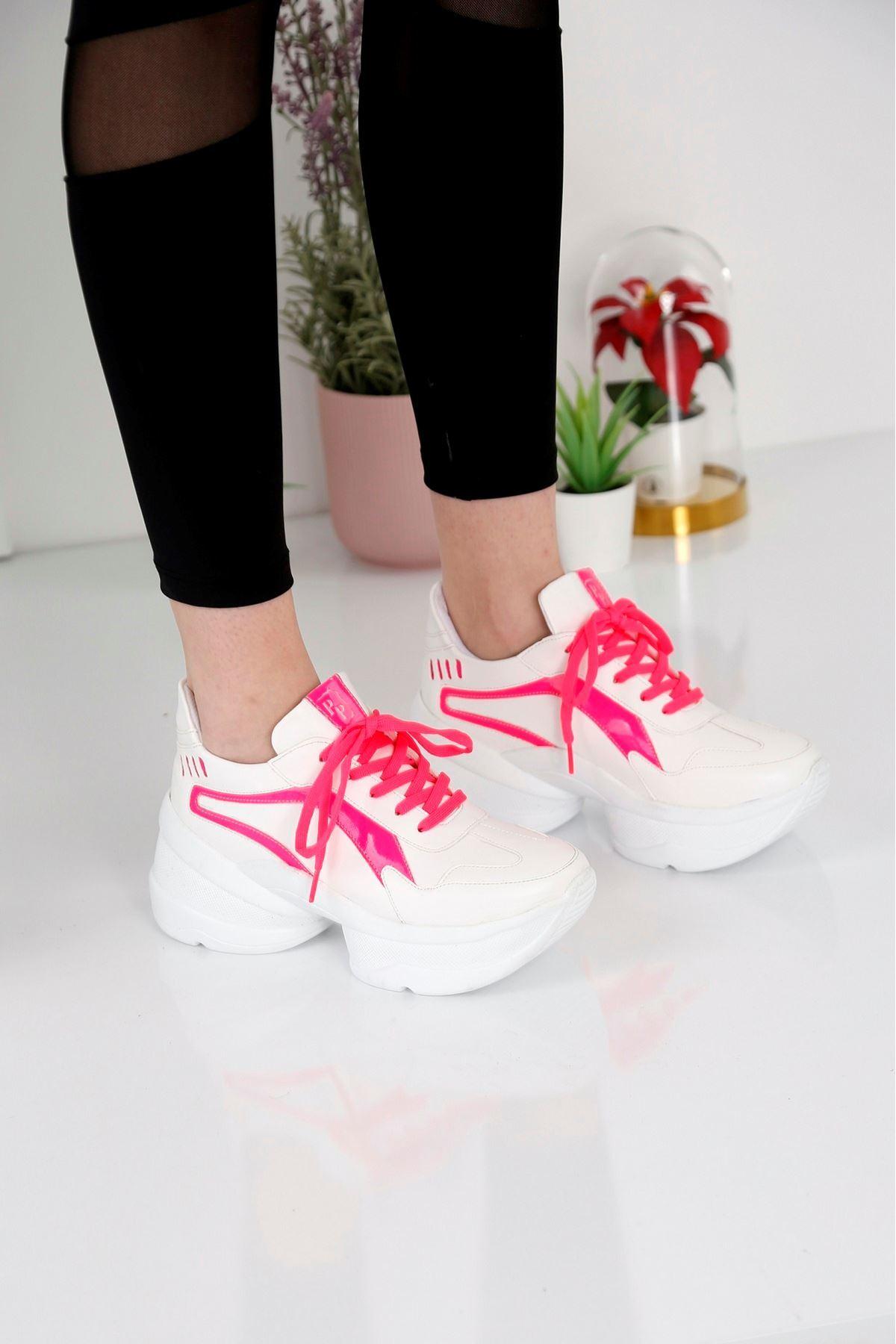 Spring Beyaz Fuşya Spor Ayakkabı