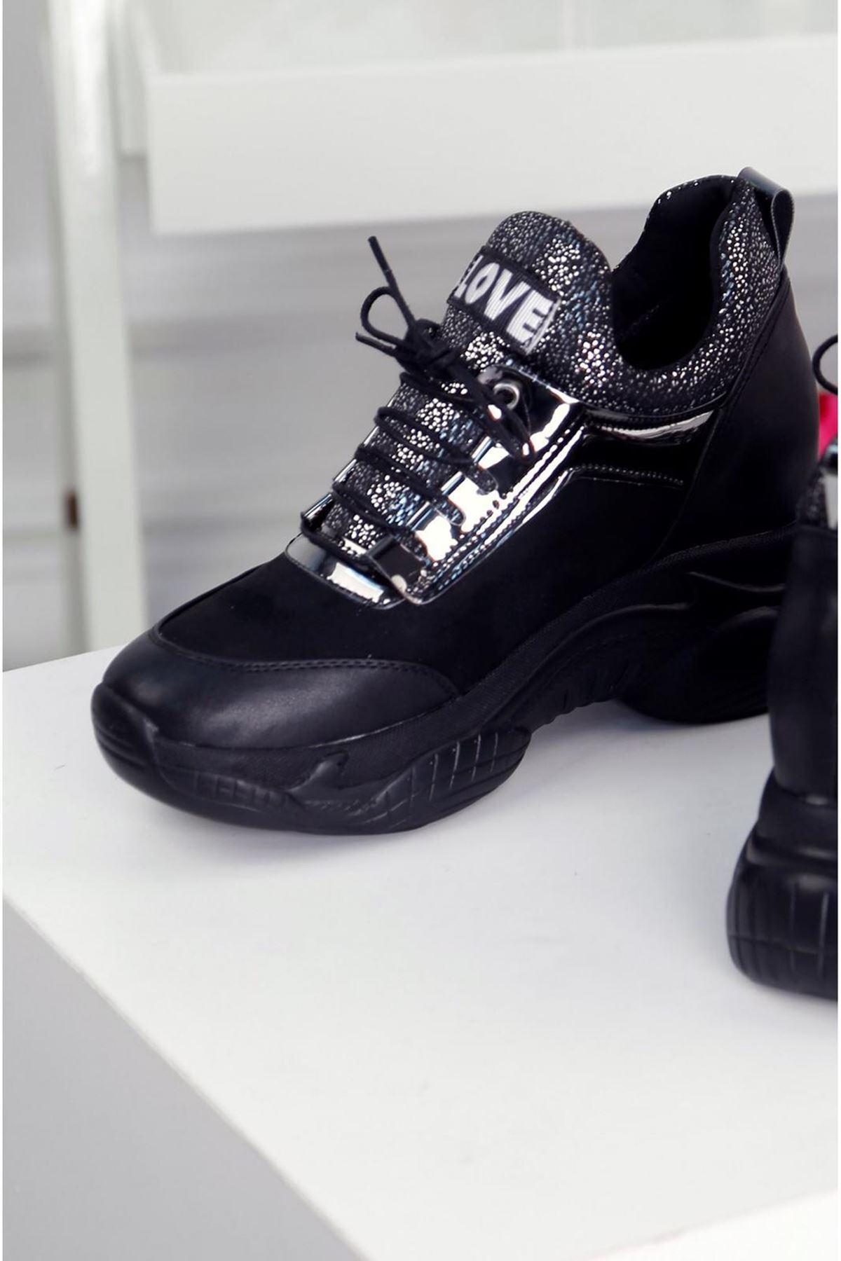 LOVE Siyah Kadın Spor Ayakkabı