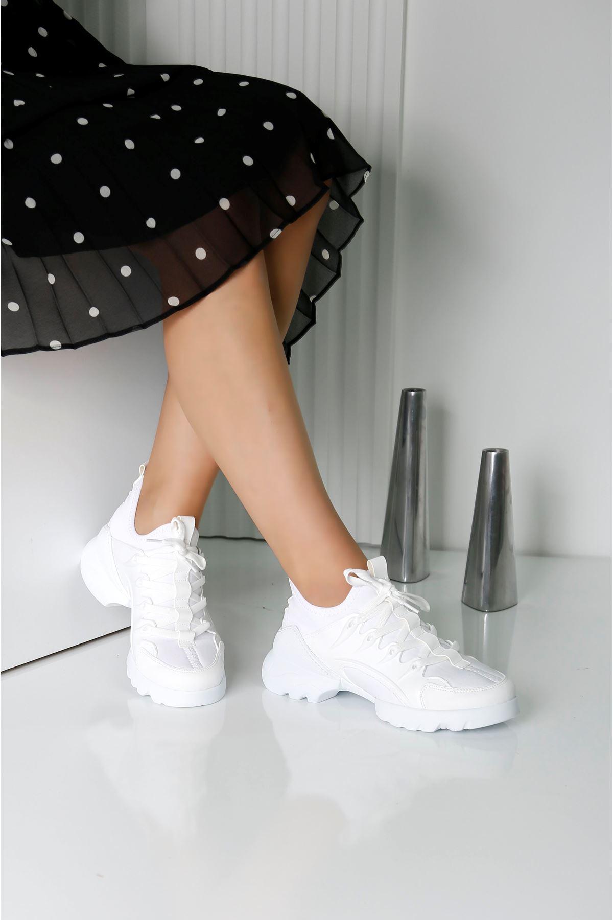 KNAP Beyaz Kadın Spor Ayakkabı