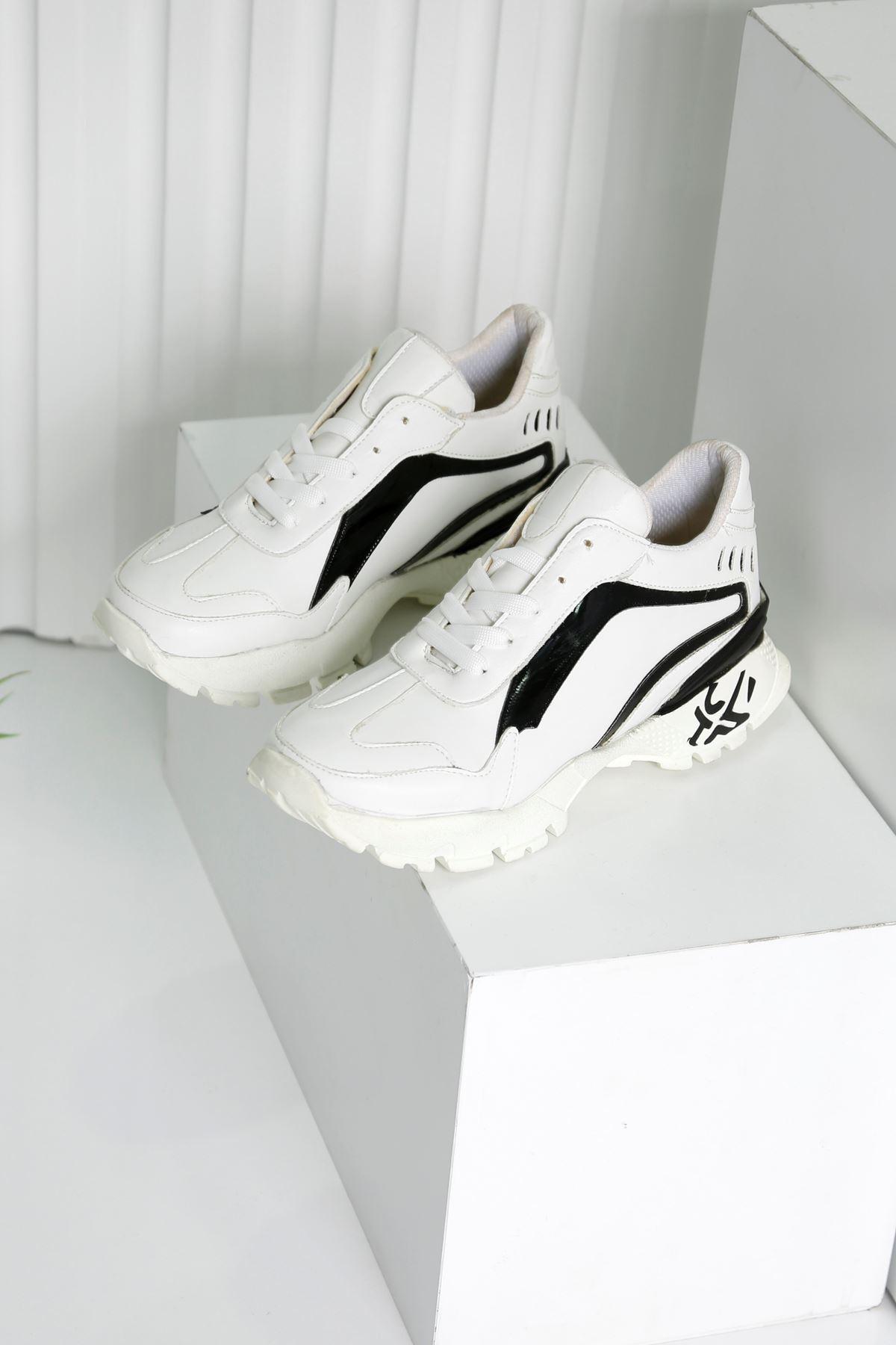 SAFİR Beyaz-Siyah Kadın Spor Ayakkabı