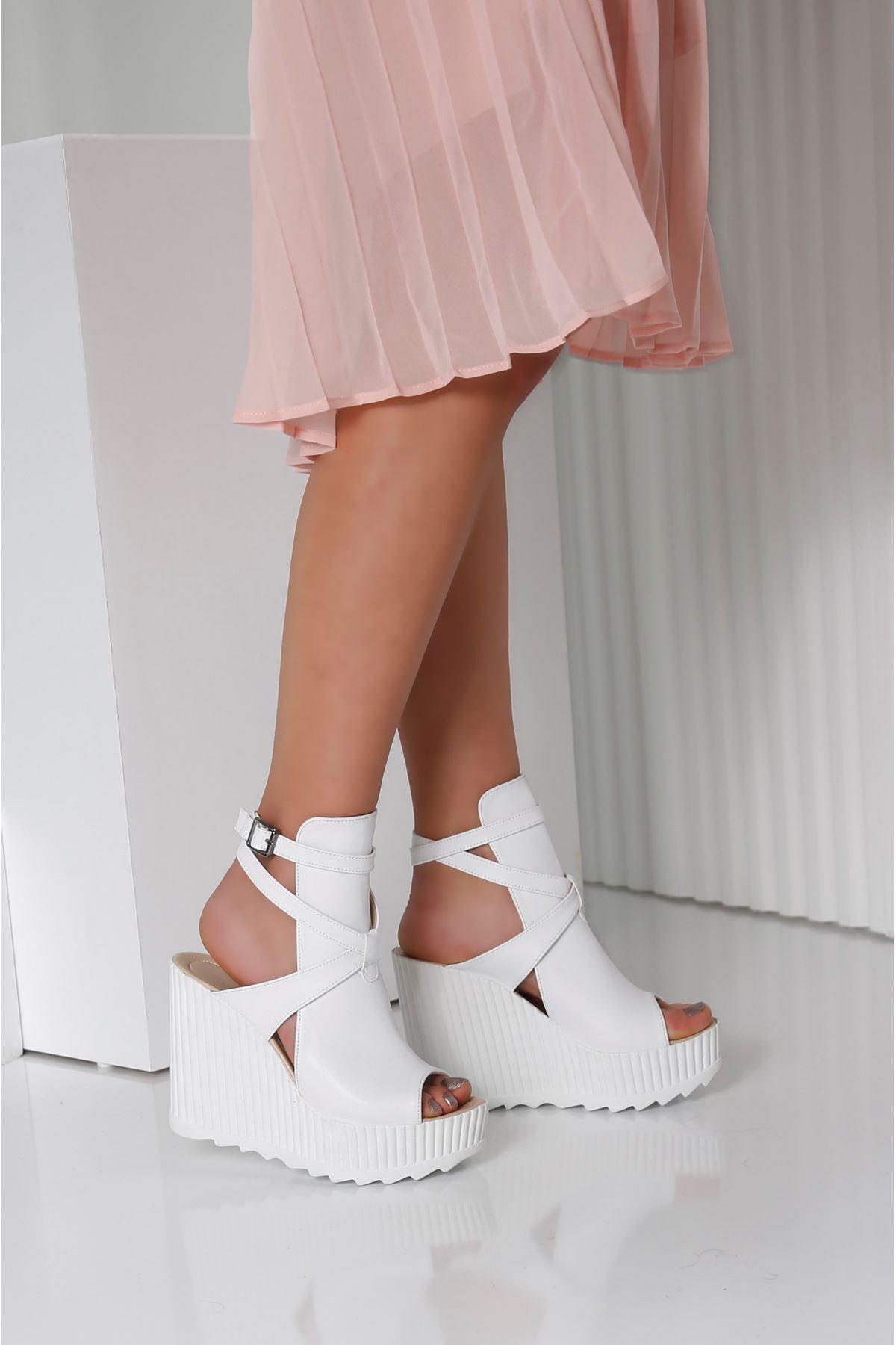 ALVINA Beyaz Kadın Platform Ayakkabı