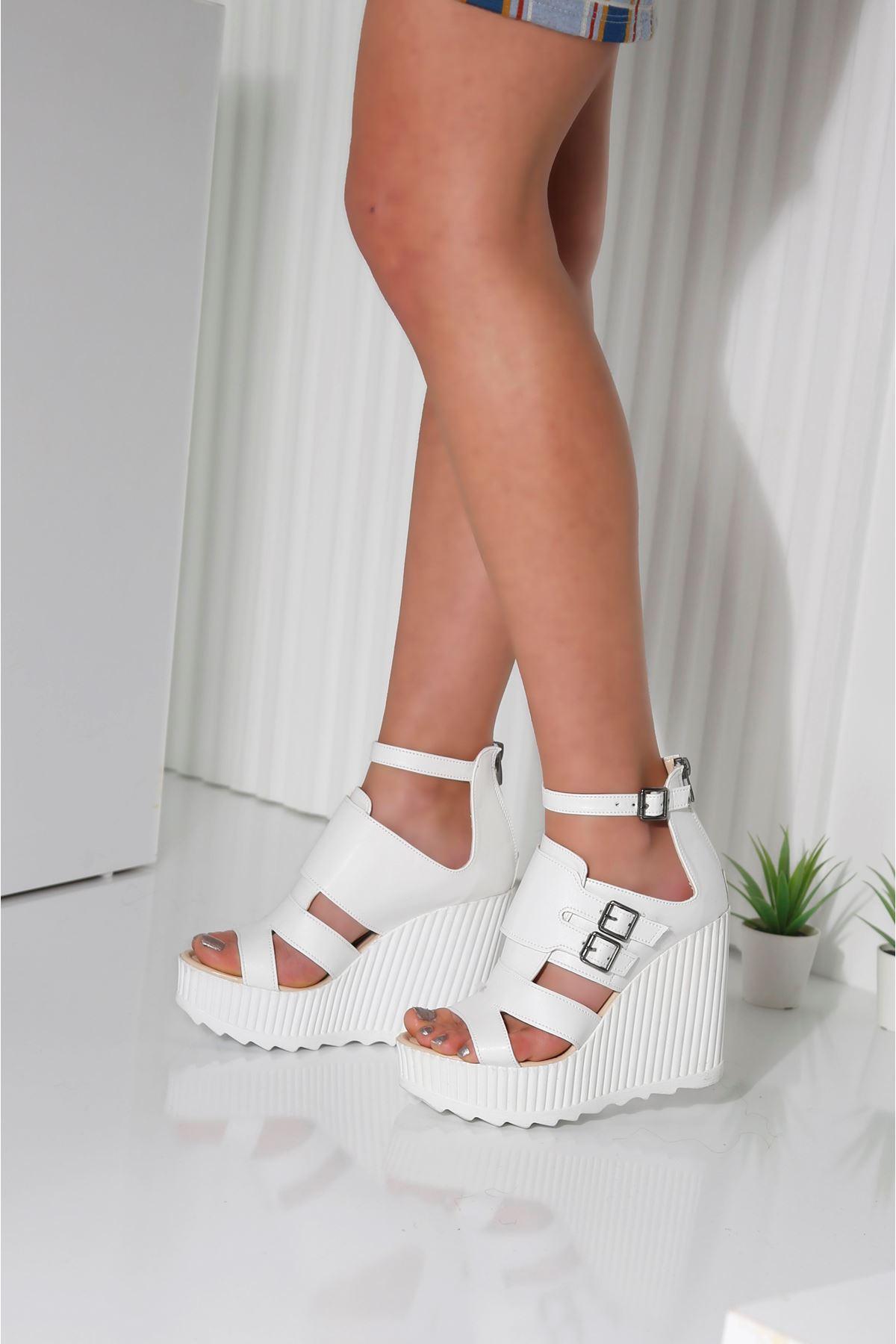 STELLA Beyaz Cilt Kadın Platform Ayakkabı