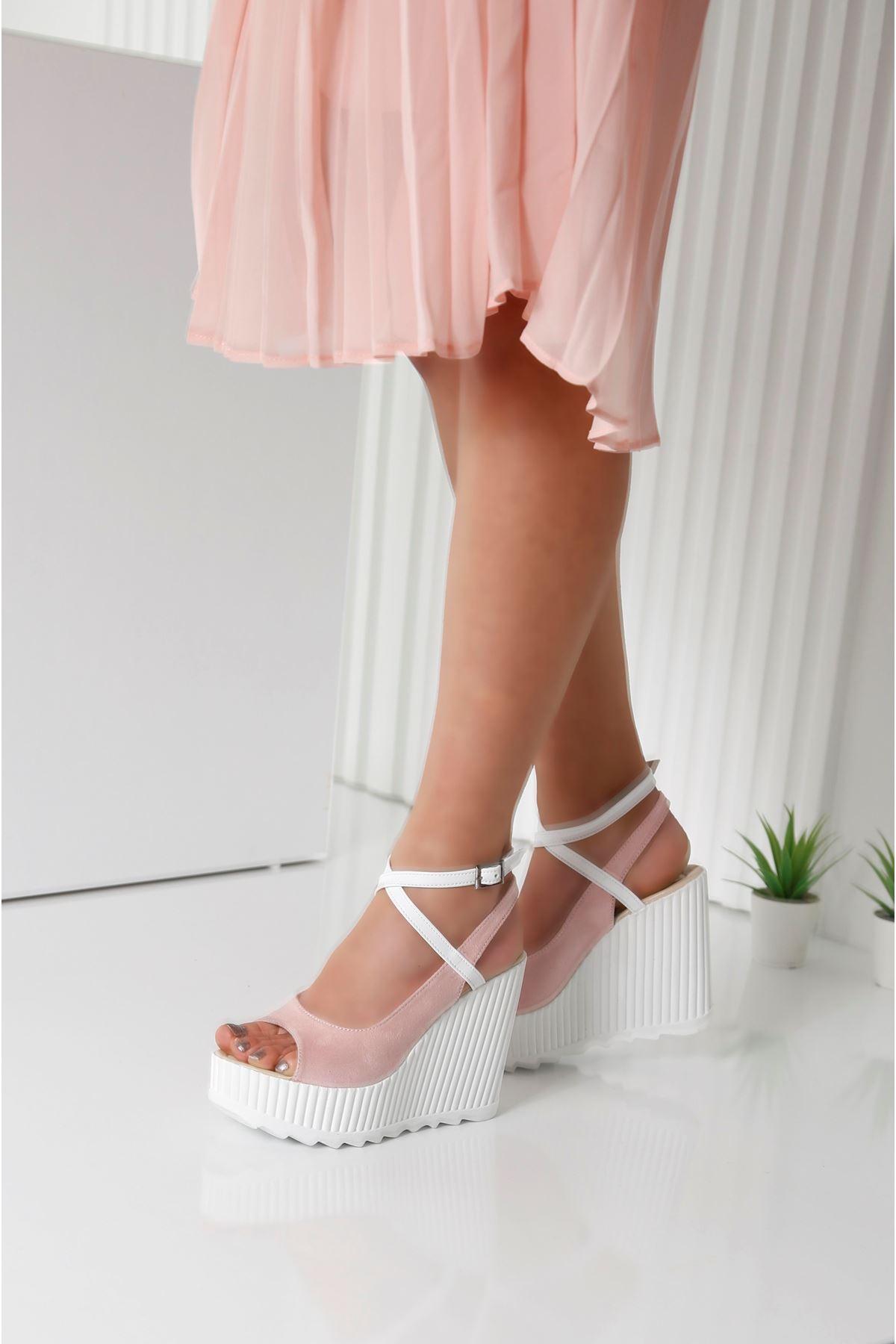 CLARIS Pembe Kadın Platform Ayakkabı