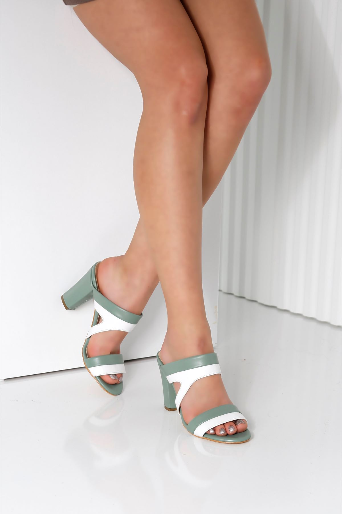 EDINA Mint Yeşili Topuklu Kadın Terlik