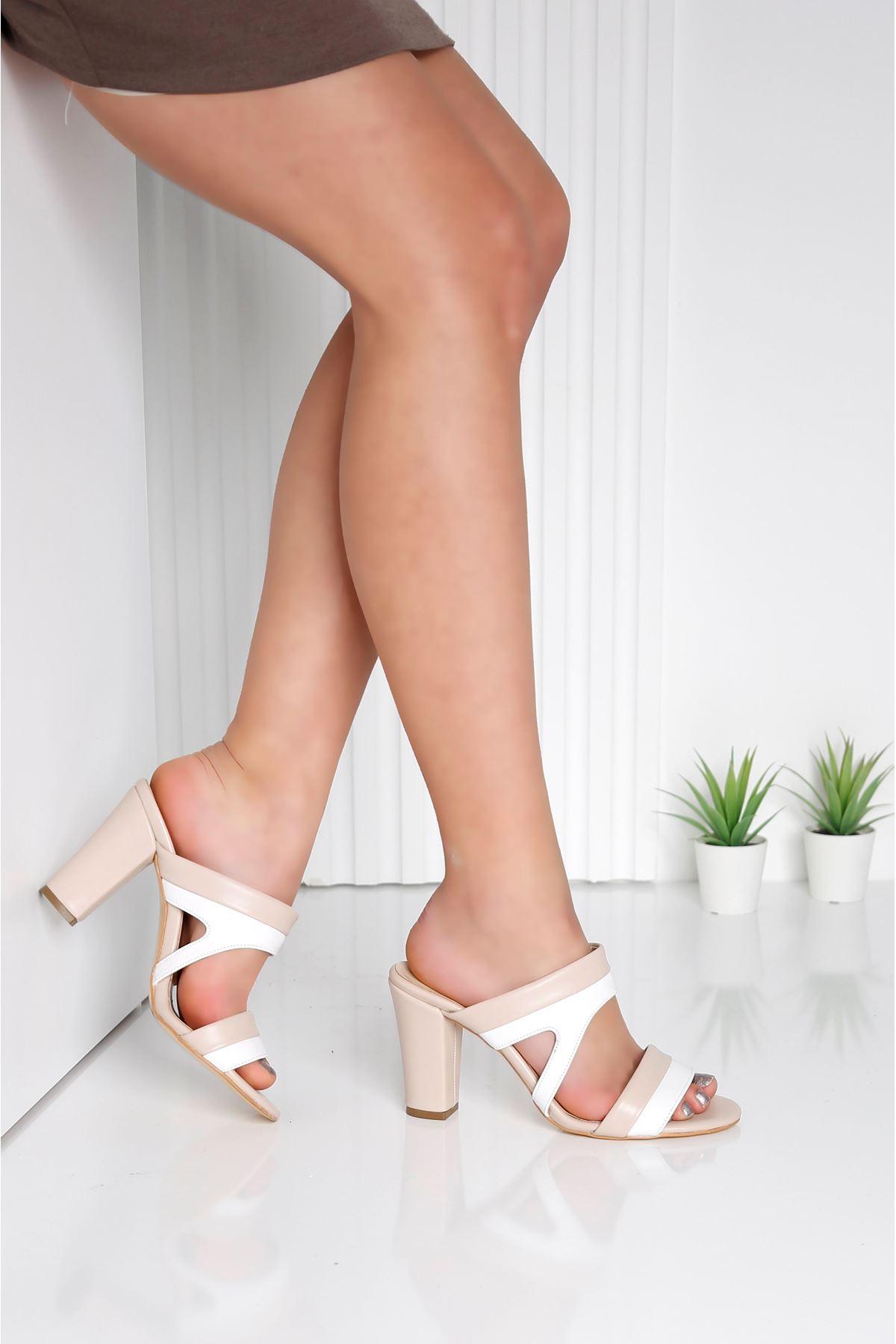 EDINA Krem Topuklu Kadın Terlik