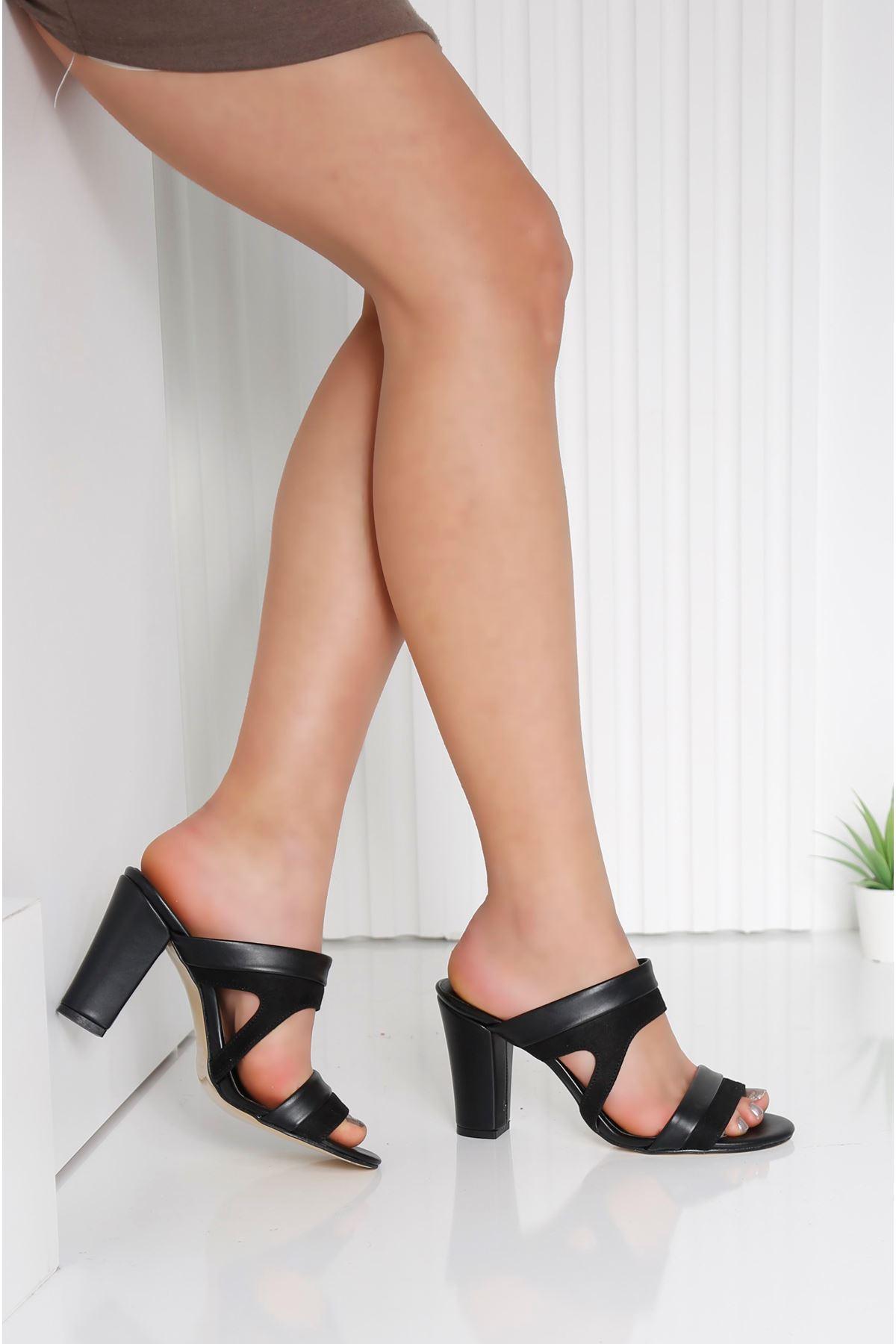 EDINA Siyah Topuklu Kadın Terlik