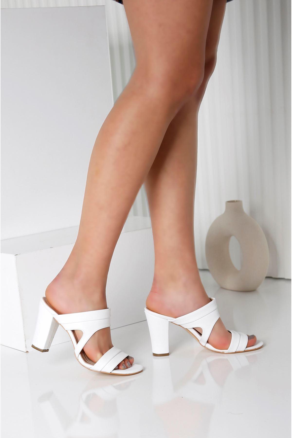 EDINA Beyaz Topuklu Kadın Terlik