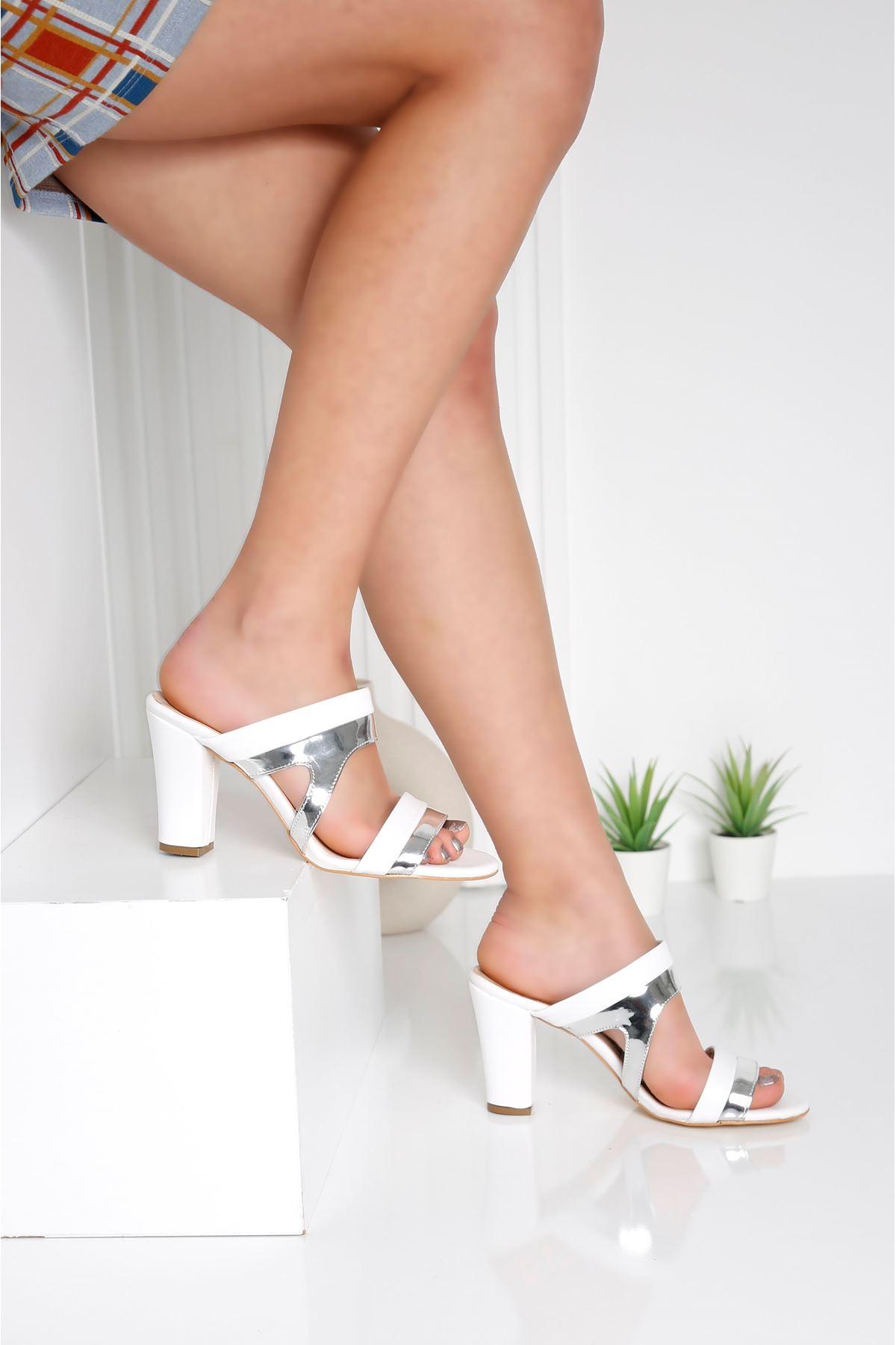 EDINA Gümüş Topuklu Kadın Terlik