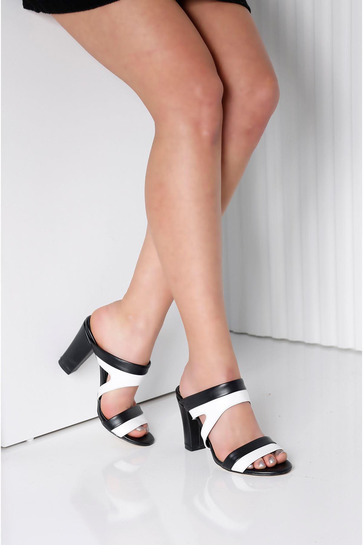 EDINA Siyah Beyaz Topuklu Kadın Terlik