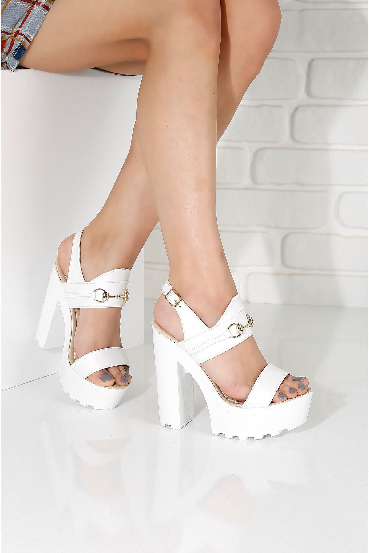 KLEOPATRA Beyaz Topuklu Kadın Ayakkabı