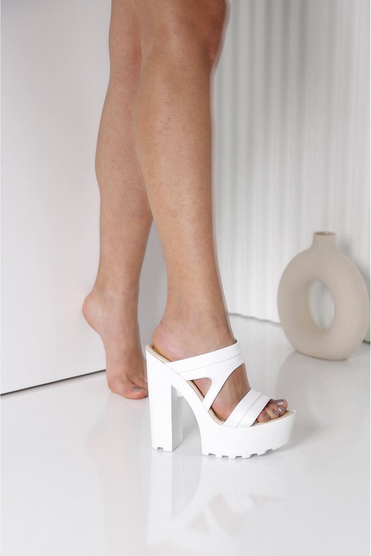 LAWIN Beyaz Topuklu Kadın Terlik
